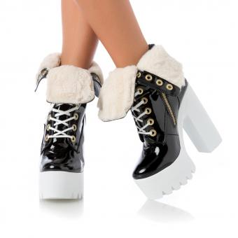 MALINI FUR PATENT BLACK ON WHITE