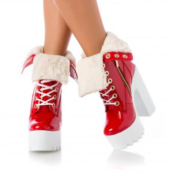 Raquel Fur Patent Red on White